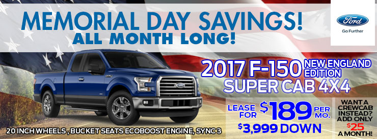 2017 Ford F-150 Super Cab 4x4 Lease Special at Baystate Ford